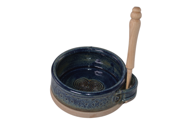 dip dish with knife blue