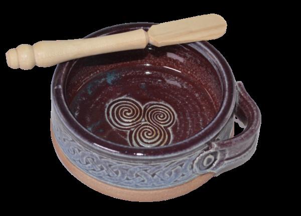 dip dish with knife purple